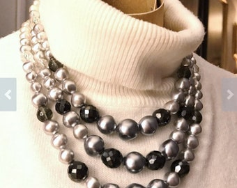 Multi 3 Strand Necklace - Faux Pearls Vintage Glass Beads c. 1950's