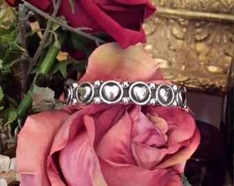 Sterling silver vintage heart cuff bracelet