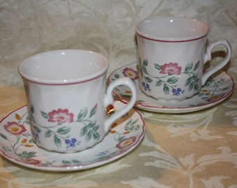 2 Churchill China- Briar Rose Pattern Cups & Saucers made in England