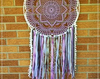 "Large Handmade Lavender 19"" Doily Dreamcatcher"