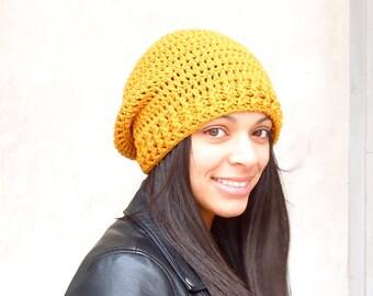 Crochet Slouchy Hat, Tam Hat, Mustard, Beehive Hat, Adult, Crochet, Women, Teen,