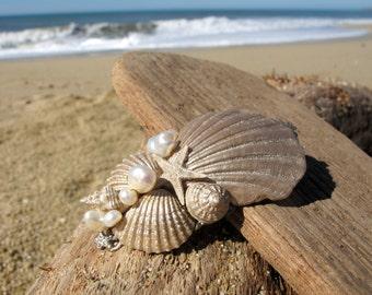 Beach Wedding No.11 - Shimmering Gold Seashell, Starfish and Freshwater Pearl Jewel Assemblage Bridal Hair Comb, Coastal Wedding