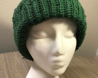 Crochet Cable Beanie Hat Forest Green