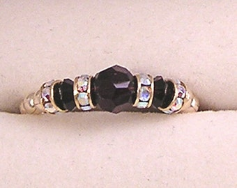 Birthstone ring - gold fill, beaded