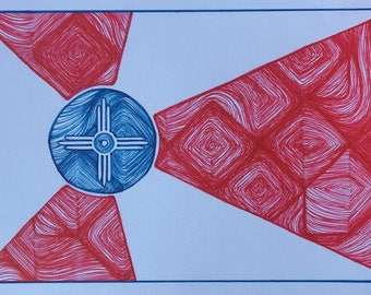 Wichita Flag - Hand Drawn