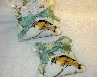 French Lavender Sachet Vintage French Market Bird Sachet Handmade Filled with French Lavender Ooh La La Set