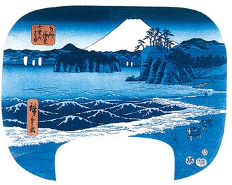 Hand-cut wooden jigsaw puzzle. SHICHIRI BEACH JAPAN. Hiroshige. Japanese woodblock print. Wood, collectible. Bella Puzzles.