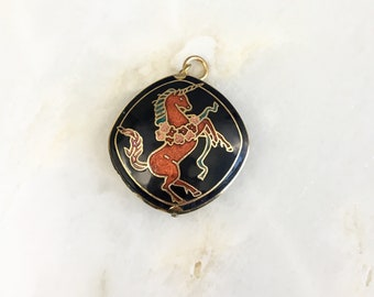 Vintage Cloisonne Unicorn Pendant