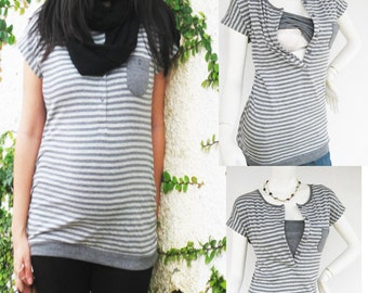 KARA Maternity Clothes, Nursing Top Breastfeeding Top NEW Original Design GREY Stripe Pregnancy Nursing Clothes