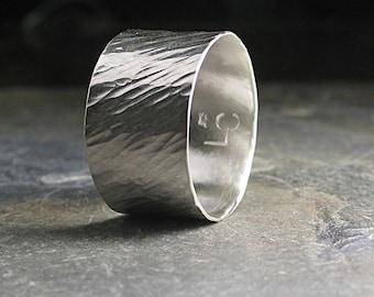 breites Band Sterling Silber Ring Ehering Unisex strukturierte Silber Band-Ring - Silber-Zen