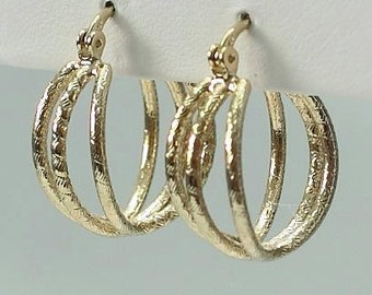 Gold plated 3 hoop earring