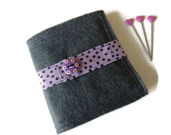 Needle Book - Dark Grey Felt Needle Case - Felt Needle Case - Sewing Needle Case - Hand Sewing Needle Case - Needle Book