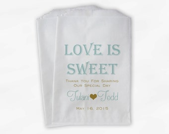 Love Is Sweet Wedding Candy Buffet Treat Bags - Personalized Favor Bags in Robins Egg Blue and Gold - Custom Paper Bags (0069)