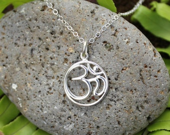 Aum necklace - sterling silver meditation charm on delicate sterling silver chain - zen, yoga, peace, tranquility - free shipping in USA