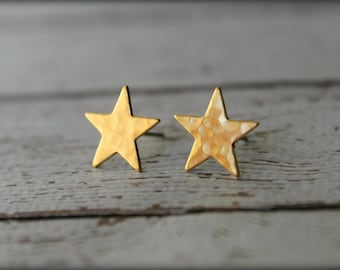 Hammered Star Earring Studs, Available in Raw Brass or Silver Plated Brass, Stainless Steel Posts