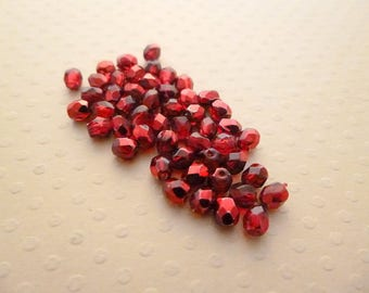 Set of 50 4 mm Pomegranate Met. Ice - F4 1381