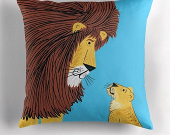 Listen To The Lion - cushion cover / throw pillow cover including insert - by Oliver Lake iOTA iLLUSTRATiON