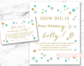 How big is mommy's belly Printable Sign and Cards, Twinkle Little Star Mint Gold, gender neutral shower, DIY, INSTANT DOWNLOAD, 006