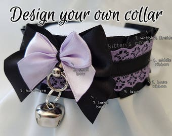 The Lisbeth Collar [Design Your Own] Double Bow Thick Lace Kitten/Pet Play DDLG Collar