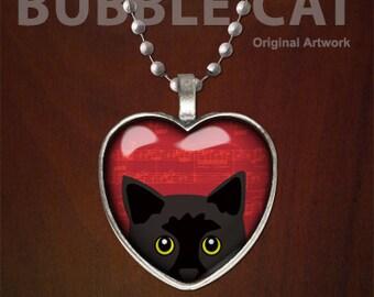 Peeking Black Cat Necklace, Black Cat Pendant, Yellow Eyes