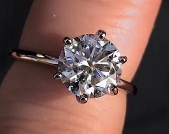 Solitaire moissanite ring 14k white gold engagement ring 2.62 carat f color vvs1 round brilliant cut , free shipping