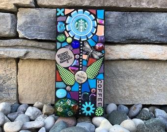Reduce. Reuse. Recycle. (Original Handmade Recycled Starbucks Cap Flower Mosaic by Shawn DuBois)