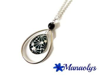 Necklace art deco, silver drop silver art deco pattern, glass cabochon