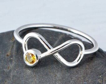 Citrine Ring, November Birthstone Ring, Infinity Ring, Yellow Gemstone Ring, Citrine Jewelry, November Birthstone Jewelry, November Birthday