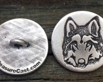 Wolf Pewter Shank Button | Animal Buttons | Wildlife Button | Metal Button | 1 Inch (25 mm) | by Treasure Cast Pewter