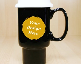 Custom GIANT Travel Mug - black handled 20oz ceramic coffee cup