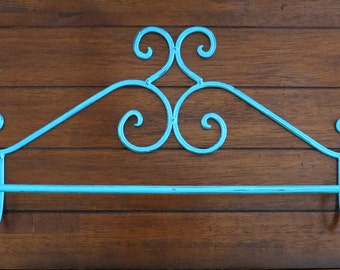 Shabby Chic Towel Bar / Towel Hanger / Bath Towel Holder / Turquoise or Pick Color / Retro Cottage Chic Bathroom Decor / Vinta