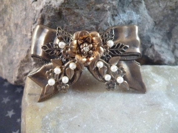 Victorian Revival Layered Romantic Vintage Bow Pin with Floral Design and Faux Pearls