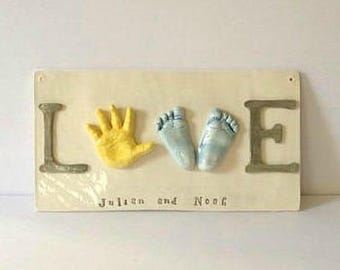 RESERVED Sibling Wall Art - Baby Hand and Footprint Love Plaque - LOVE  - Personalized Keepsake Gift - Family Keepsake