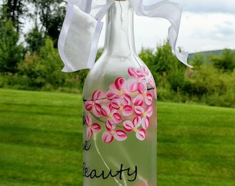 Flower Blossoms Lighted Wine Bottle