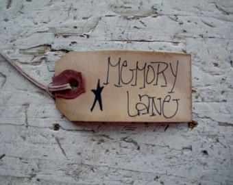 Primitive Country Rustic Hang Tags/Gift Tag Memory Lane 25 tags small manilla