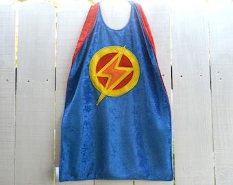 Super Hero Cape BLUE and RED - Lightning Bolt - Birthday Cape - Halloween Costume - Kid Costume