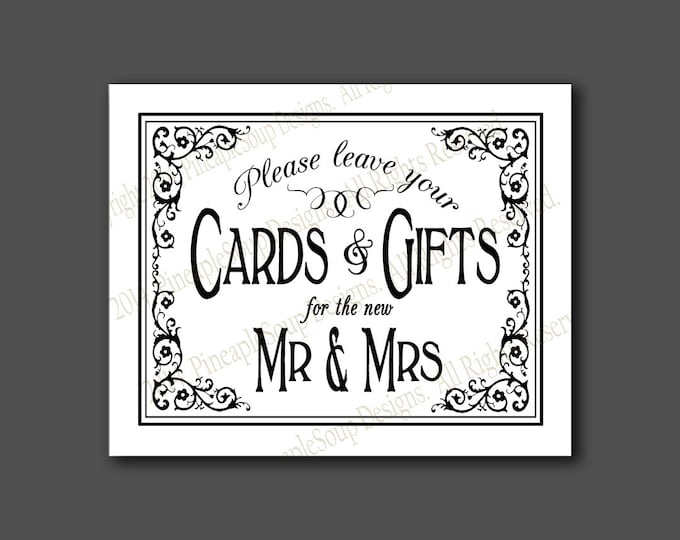 Printable Wedding CARDS & GIFTS sign - 5x7, 8x10 or 11 x 14 - instant download digital file - DIY - Black Tie Collection - traditional