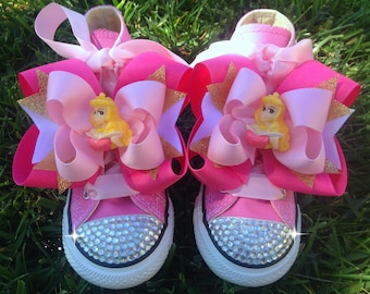 SLEEPING BEAUTY SHOES Princess Aurora Sleeping Beauty Party Aurora Costume Crystals Pink Converse Infant/Toddler/Youth