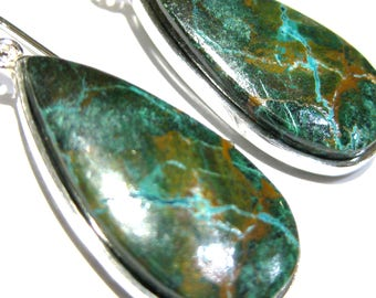 chrysocolla earrings  silver 925%