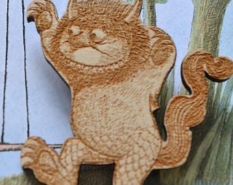 Where The Wild Things Max, Monsters,  Wildones,  Wooden Brooch, Wood Cuts, Wooden Engraving Badge,  Wild Things Party, Wooden Figures