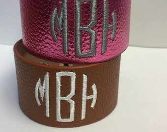 Monogrammed Bracelet, Cuff Faux Leather, Monogram Boutique, Custom Personalized, Scarf Holder, Embroidered Gifts, Christmas Fall, Gift Idea