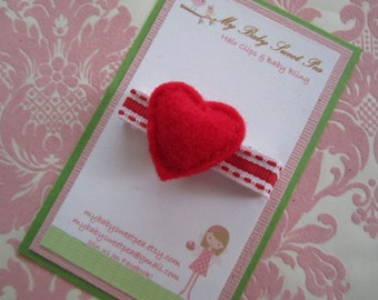 Girl hair clips - valentines day hair clips - girl barrettes - valentine barrettes