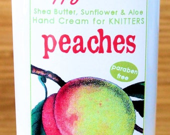 Scented Shea Butter Hand Lotion - Peaches Fruit Fragrance - Hand Cream for Knitters Happy Hands Knitting