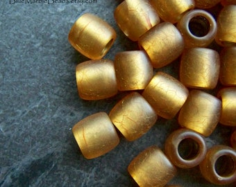 Vintage Bead, Crackle Bead, Yellow Bead, Gold Core, Barrel Bead, Light Topaz, Lucite Bead, Big Hole Bead, Boho Beads, Frosted, Matte, 16