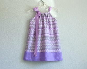 Girls Lavender Pillowcase Dress - Purple and Grey Sun Dress - Chevron Stripes and Dots Sun Dress -  Size 12m, 18m, 2t, 3t, 4, 5, 6, 8, or 10