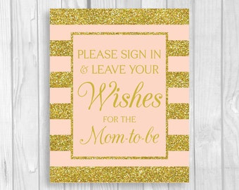 Please Sign In & Leave Your Wishes for Mom-to-Be 5x7, 8x10 Printable Baby Shower Guest Book Sign in Pink and Gold Glitter Stripes