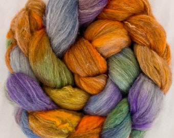 Hand dyed combed top, Grey Merino, Tussah Silk, hand painted tops, roving, spinning fibre, Handspinning, spindling, rovings,