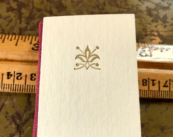Gold Flourish Mini Blank Journal handmade letterpress printed hardback tiny book with vintage map paper end sheets