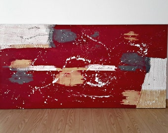 Abstract Large Painting Mixed Media Red