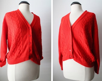 Vintage Size M Lipstick Red Button Down Slouchy Sweater Cardigan